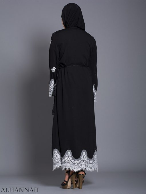 Floral Lace-Lined Button-up Abaya ab729 (3)
