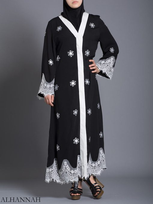 Floral Lace-Lined Button-up Abaya ab729 (4)