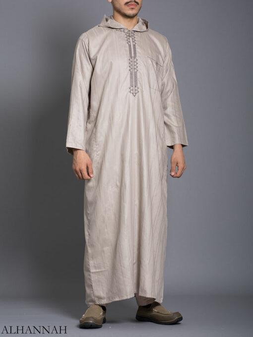 Striped Embroidered Hooded Ikaf Thobe me789 (1)