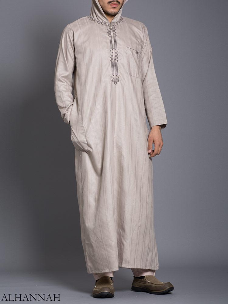 Striped Embroidered Hooded Ikaf Thobe me789 (2)