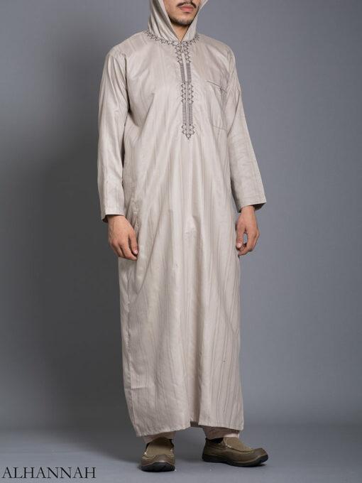 Striped Embroidered Hooded Ikaf Thobe me789 (3)