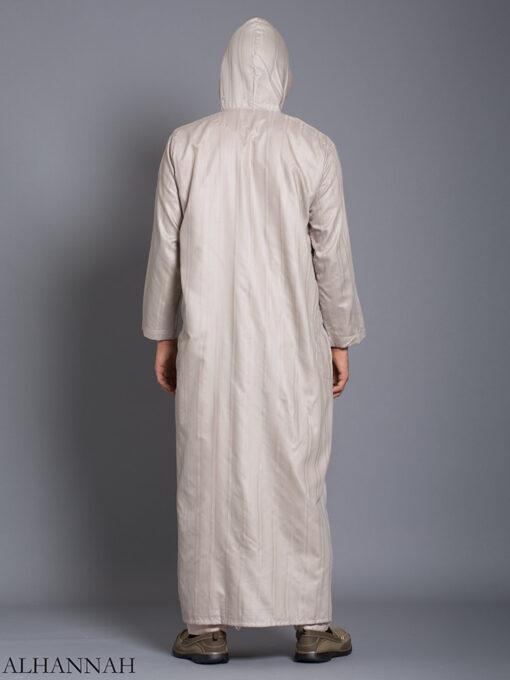 Striped Embroidered Hooded Ikaf Thobe me789 (4)