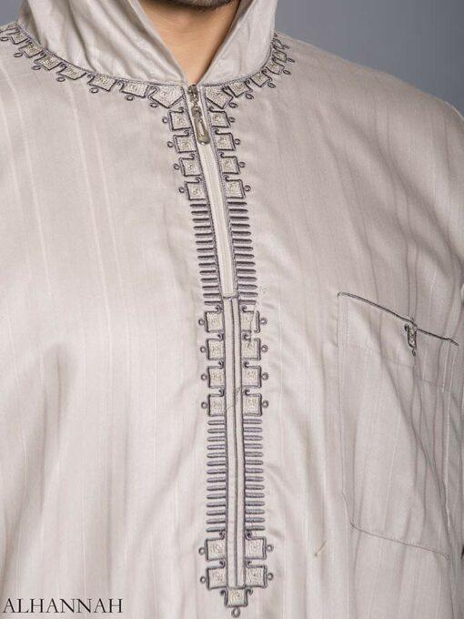 Striped Embroidered Hooded Ikaf Thobe me789 (5)