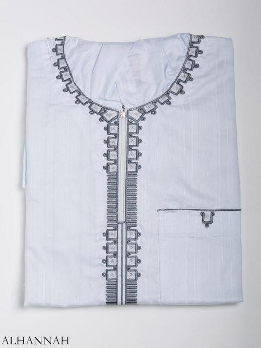 Striped Embroidered Hooded Ikaf Thobe me789 (6)