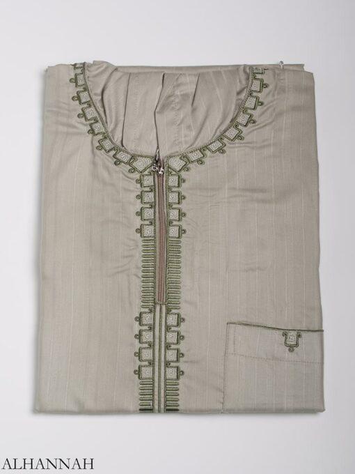 Striped Embroidered Hooded Ikaf Thobe me789 (7)
