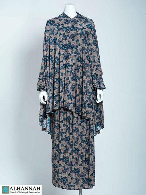 Prayer Outfit Aqua Blue Paisley