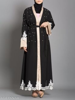BLACK ABAYA WITH SATIN AND LACE TRIM AB736