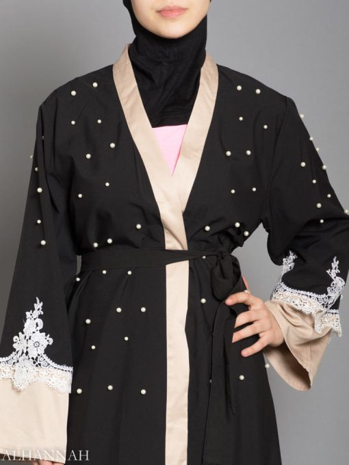 BLACK ABAYA WITH SATIN AND LACE TRIM AB736 close up