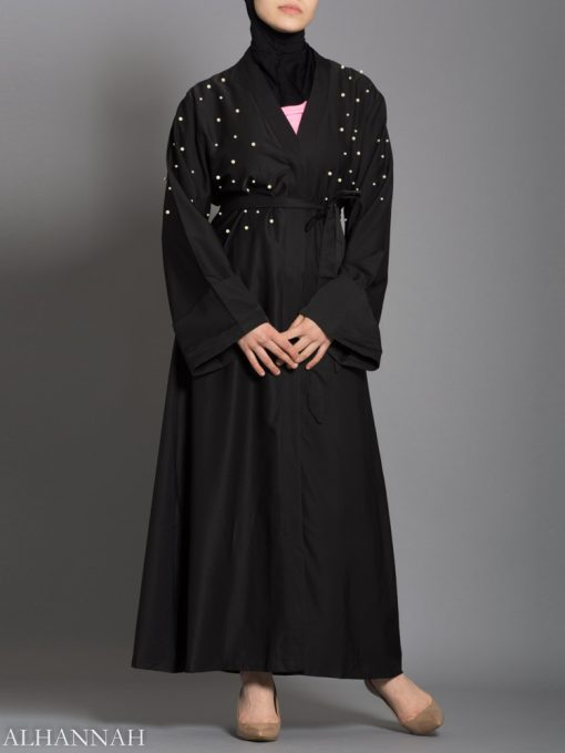 Black Abaya with Pearl Accents