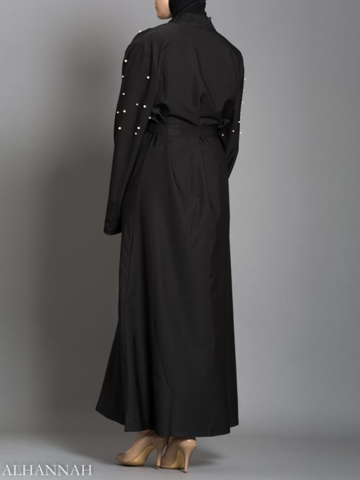 Black Abaya with Pearl Accents Back View