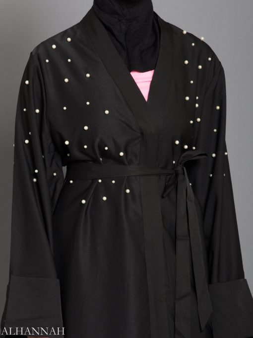 Black Abaya with Pearl Accents Close up