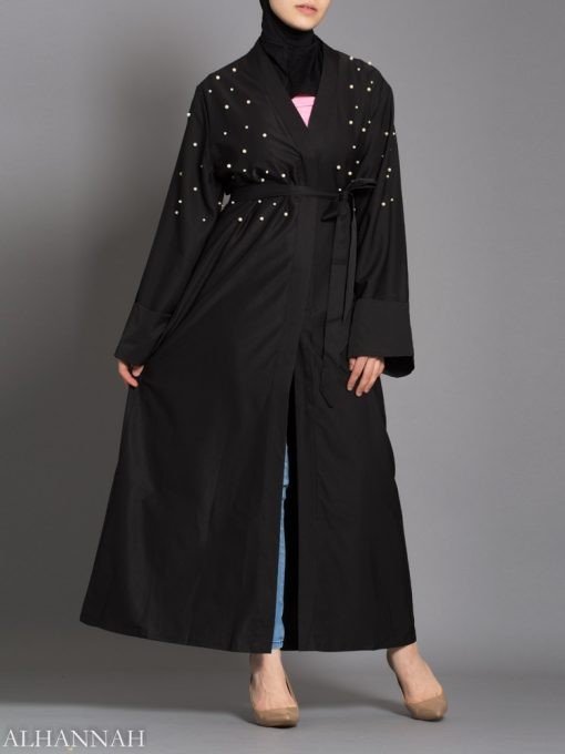 Black Abaya with Pearl Accents opening
