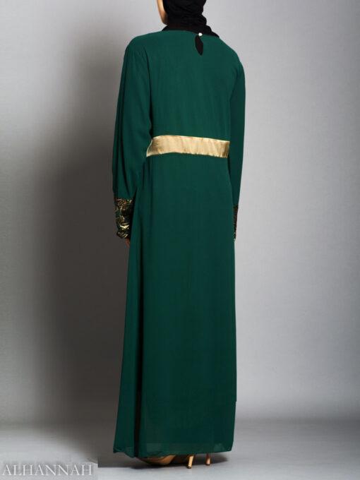 Chiffon Satin Pullover Abaya - AB732 Back