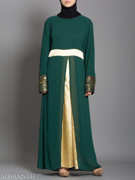 Chiffon Satin Pullover Abaya - Emerald