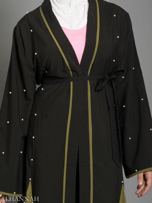 Open Abaya with Side Panels AB733 close up