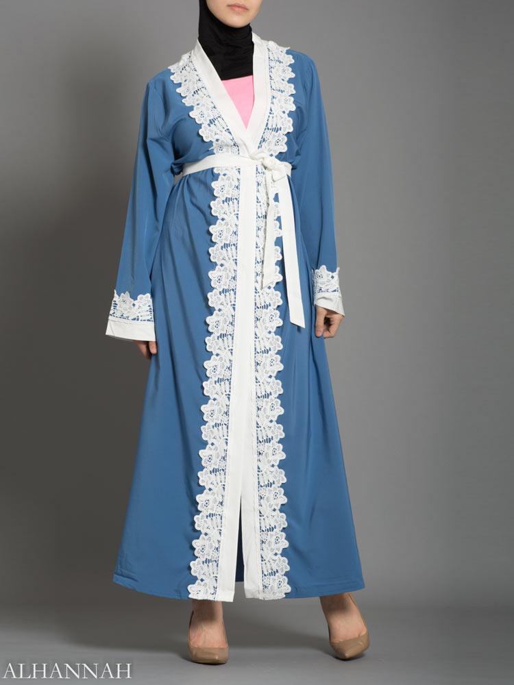 Power Blue Lace Abaya AB735