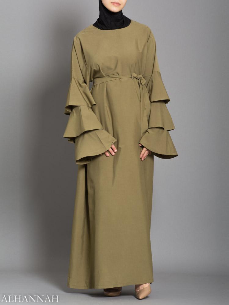 Pullover Abaya with Ruffles
