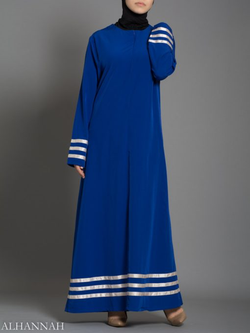 Satin Trim Pull over abaya AB738