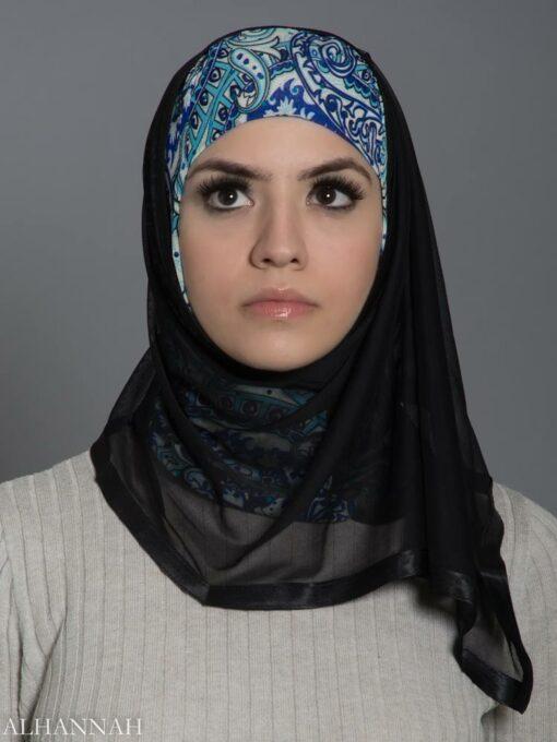Abstract Aqua Paisley Kuwaiti Wrap Hijab hi2179 front