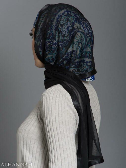 Abstract Aqua Paisley Kuwaiti Wrap Hijab hi2179 side