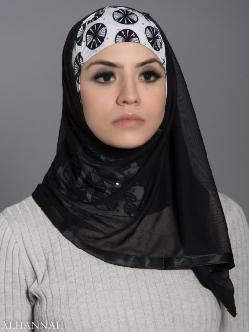 Black and White Lily Pad Kuwaiti Wrap Hijab hi2185 front 2