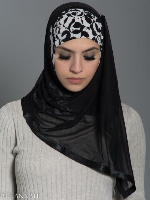 Black and White Swirls Kuwaiti Wrap Hijab hi2183 front