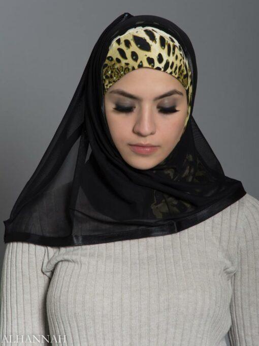 Cheetah Kuwaiti Wrap Hijab hi2182 front