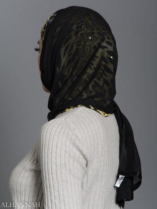 Cheetah Kuwaiti Wrap Hijab hi2182 side