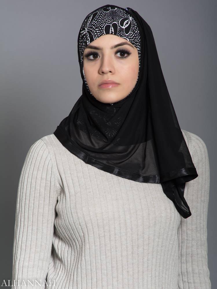 Falling Petals Kuwaiti Wrap Hijab hi2181 front