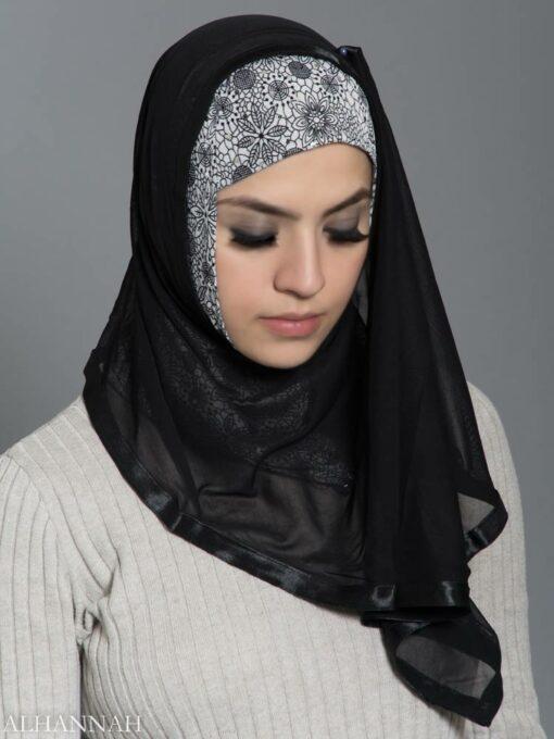 Floral Web Kuwaiti Wrap Hijab hi2187 front