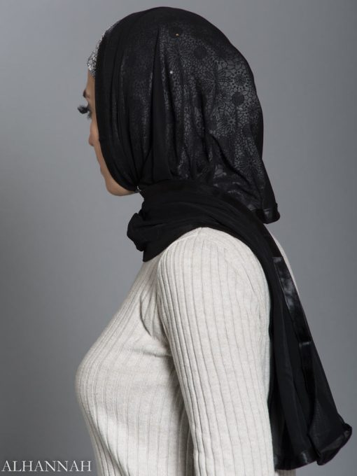 Floral Web Kuwaiti Wrap Hijab hi2187 side