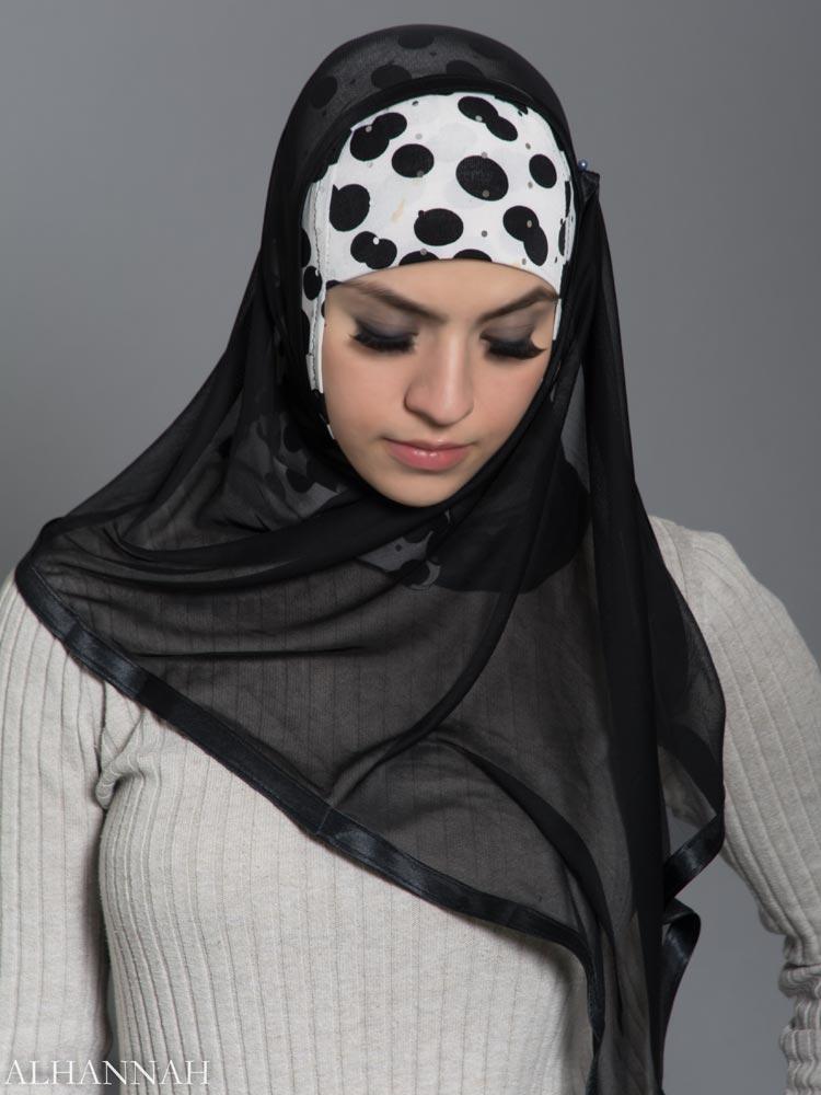 Polka Dot Kuwaiti Wrap Hijab hi2184 front