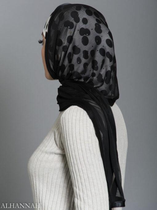 Polka Dot Kuwaiti Wrap Hijab hi2184 side