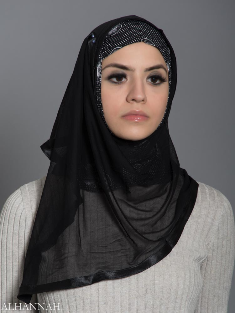 Polka Dot Lilly Kuwaiti Wrap Hijab hi2178 front 2