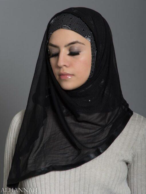 Polka Dot Lilly Kuwaiti Wrap Hijab hi2178 front