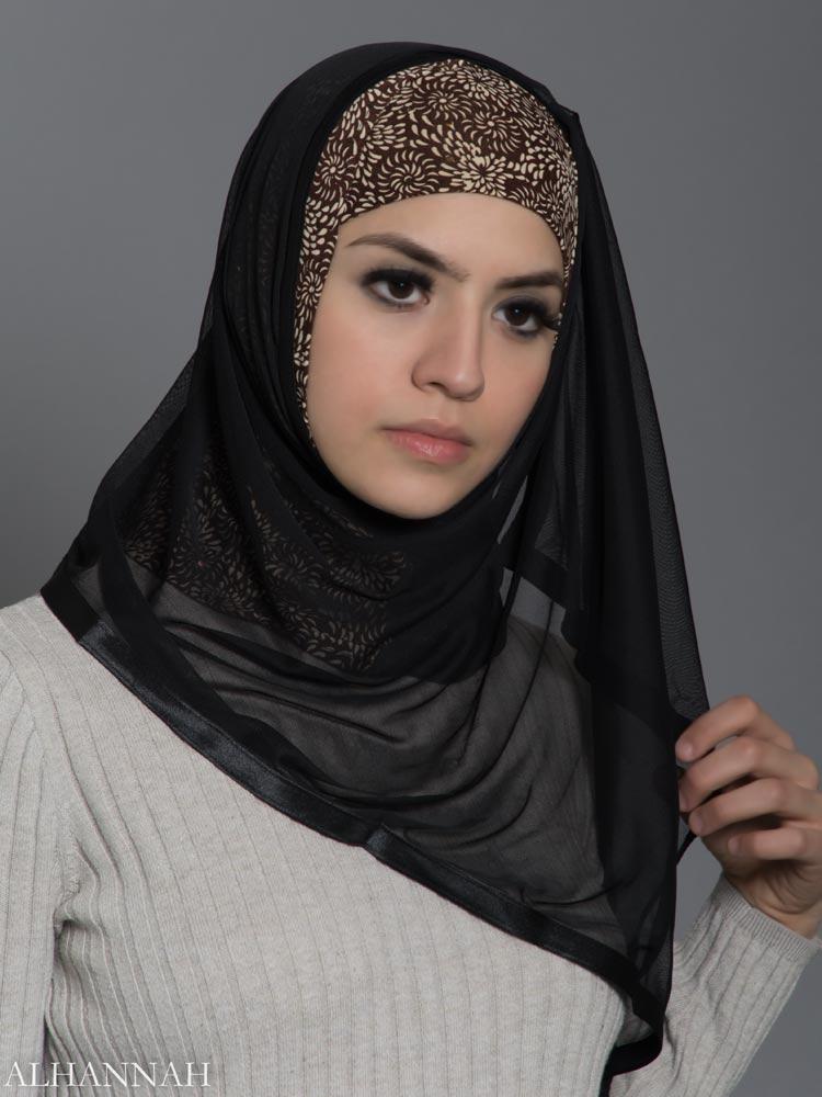 Sunflower Swirls Kuwaiti Wrap Hijab hi2180 front
