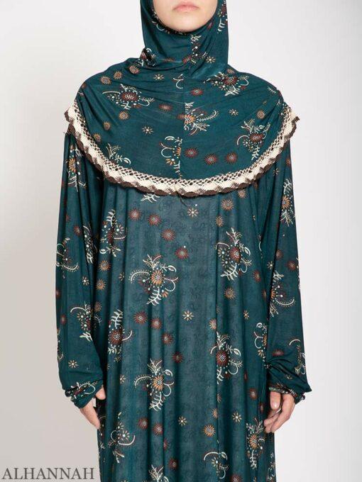 Aquamarine Floral Prayer Outfit close up