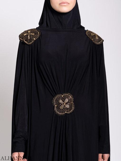 Black Beaded Kaftan Abaya Close up