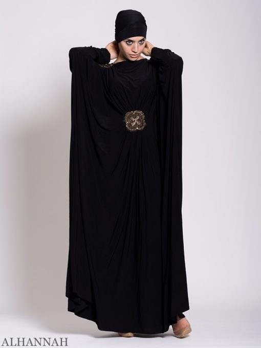 Black Beaded Kaftan Abaya Sleeves