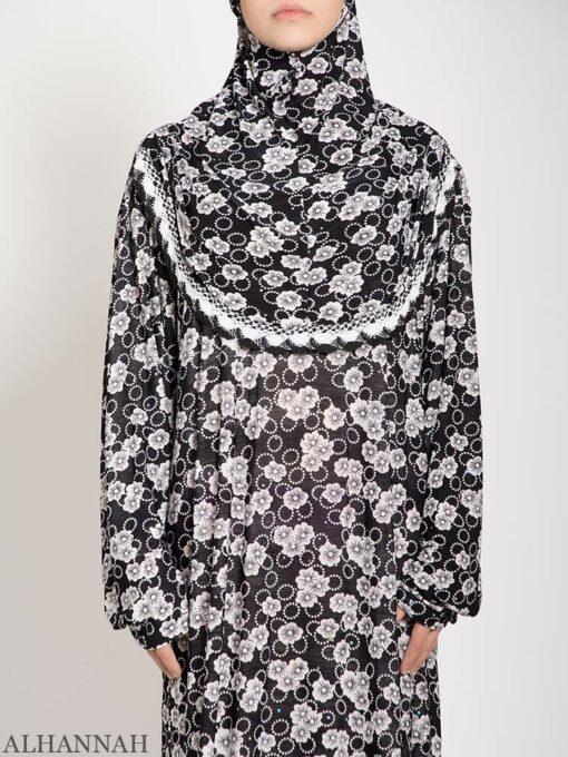 Black Floral Sparkle Prayer Outfit Close Up