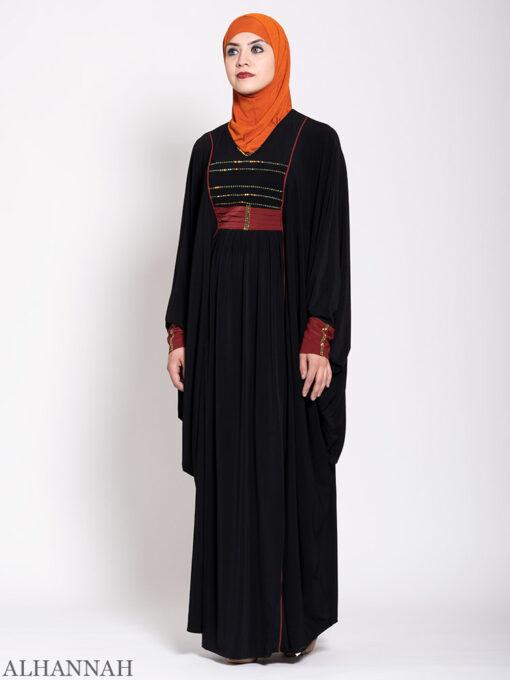 Black Kaftan Abaya Maroon Trim