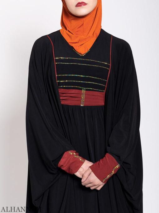 Black Kaftan Abaya Maroon Trim Close Up