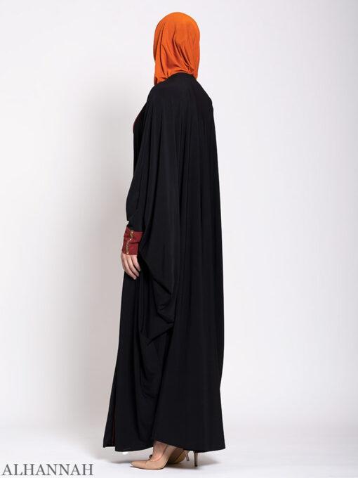 Black Kaftan Abaya with Maroon Trim Back