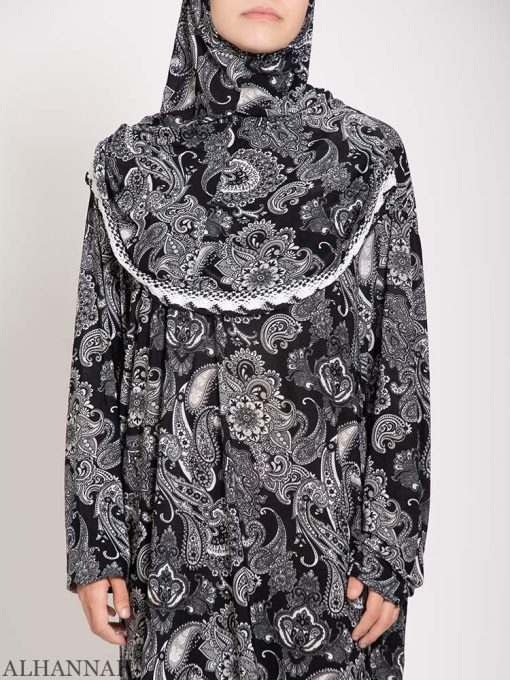 Charcoal Paisley Prayer Outfit close up