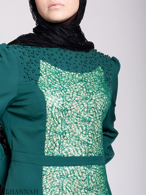Arabesque Sequin Abaya Gown Close Up