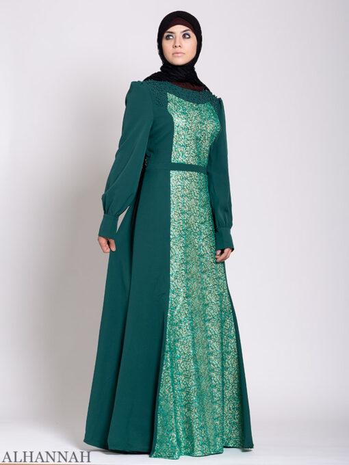 Arabesque Sequin Abaya Gown Emerald