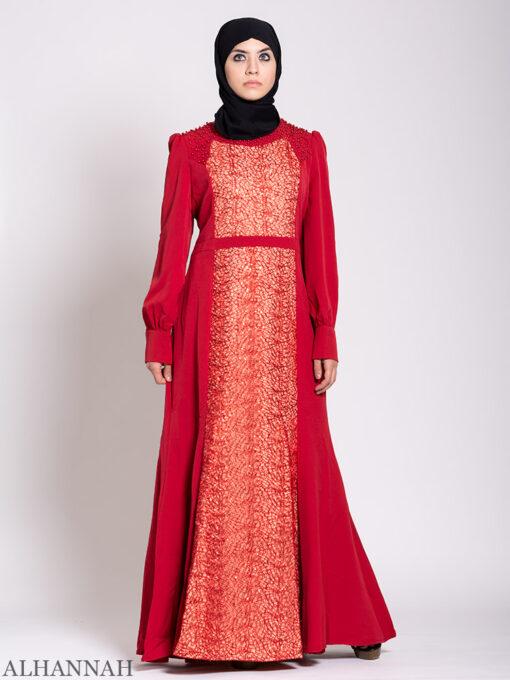 Arabesque Sequin Abaya Gown Ruby