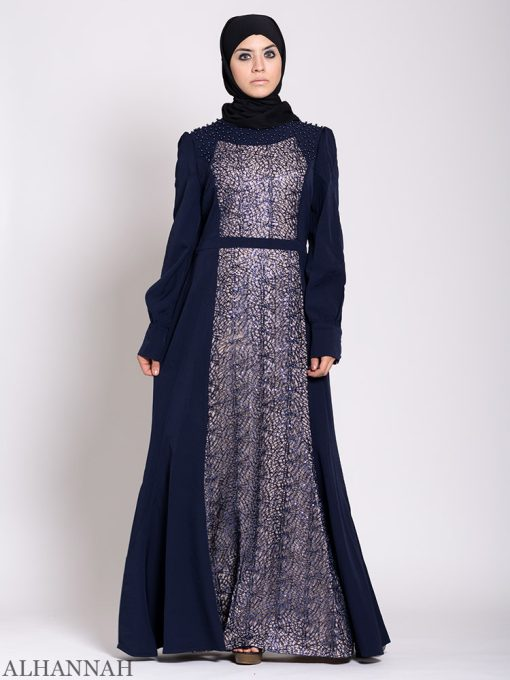 Arabesque Sequin Abaya Gown Sapphire Blue