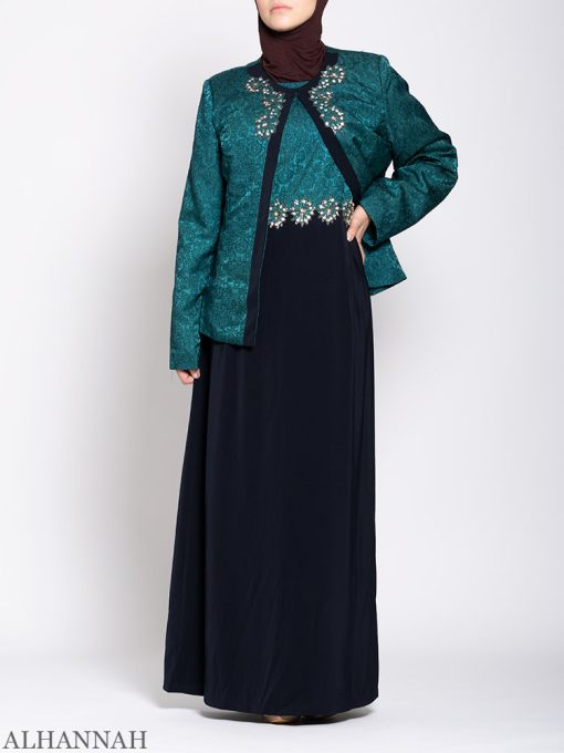 Damask Brocade Henna Dress 2
