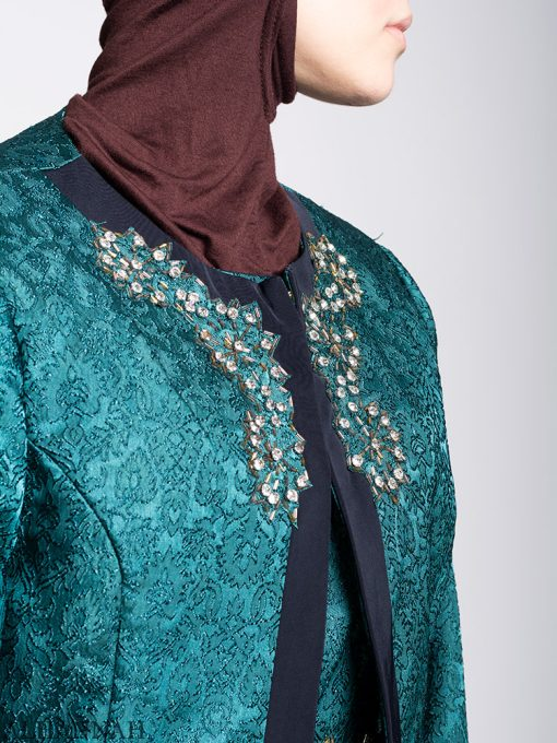 Damask Brocade Henna Dress Jacket Detail